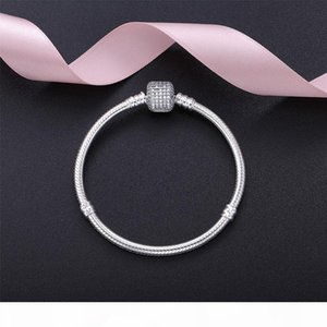 Beautiful Women CZ Pave Clasp Bracelet with LOGO Engraved In 925 Sterling Silver for Women Pandora Bracelets Bangle Wedding Gift