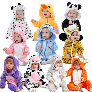 Dessin animé mignon Flanel Rompers Fox Rabbit Panda Pajamas Coton Goy Girls Costume Animal Jumpsuit Kigurumi Outfit