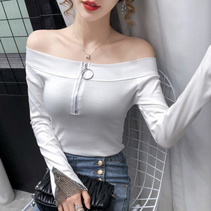 T-shirt Strapless Zipper Collar Women's Top Fashion Sexy Slim Ladies Tshirt Hot Drilling Long Sleeve Tees