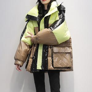 Brasão Janveny soltas Longo Parka Mulheres 2020 Inverno Branco Duck Jacket Feminino parkas com capuz Thicken Quente Neve Baixo Outwear