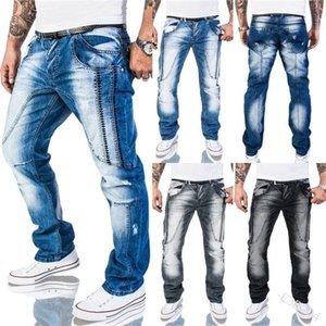 Lugentolo Men Jeans Брюки плиссированные огорченные изношенные белые карманные молнии шить свободные мужские джинсы