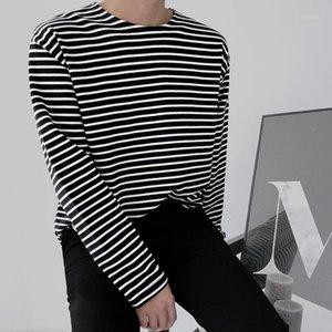 Camiseta de algodón a rayas Moda para hombre Casual O-cuello Camiseta de manga larga Hombres Streetwear Wild Flow Korean Tshirt Mens Tops M-2XL1
