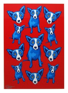 .41 Blue Dog Group Therapy High Quality Hand Painted &HD Print Home Wall Decor Art Oil painting on canvas js1541