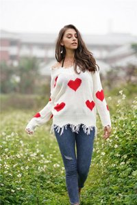 2019 autumn and winter Amazon new love stitching V-neck sweater ins sweater female loose head women's1