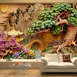 Custom Mountain Water Landscape 3D Wood Carving Art Decoration Wall Painting Study Living Room TV Background Mural Wallpaper