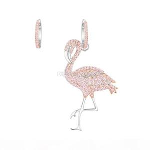 100% 925 Sterling Silver Cute Flamingo Bird Drop Earrings for Women Full Crystal Rhinestone Luxury Ear Jewelry Female Party Earrings Wedding