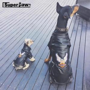 Moda Pet Dog PU Giacca in pelle Cappotto impermeabile per piccoli cani di grandi dimensioni Doberman Schnauzer Bulldog Felpa con cappuccio SCC01 T200710