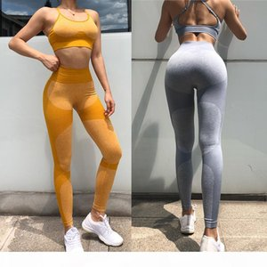 Designer Womens Yoga Set Fitness Clothing Sportswear Woman Gym Leggings Padded Push-up Strappy Sports 2 Pcs Sports Suits bra long pants sexy