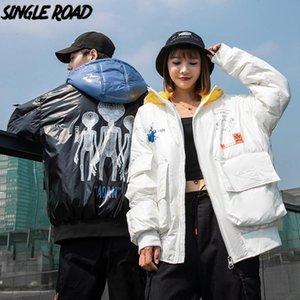 SingleRoad Mens Down Jacket Men 2020 Winter-Cargo-Federn Mantel Winddichtes Harajuku Maxi-Hip Hop Street Black Jacket Men