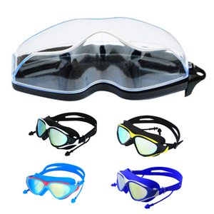 Swimming anti-skid protection lens swimming goggles UV adult with earplugs anti-fog