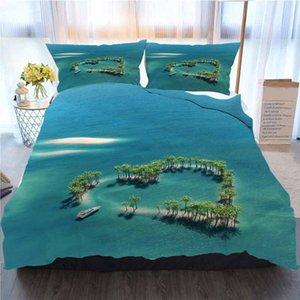 Tropical cama 3 peças capa de edredão Sets, Heart Shaped Ilha Tropical, Casa de luxo macio edredon Consolador Tampa