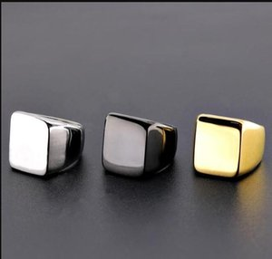 Black Gold Square Blank knuckle Ring Stainless Steel Blank Ring Silver Motorcycle Band Ring mens rings Fashion Jewelry ps1697