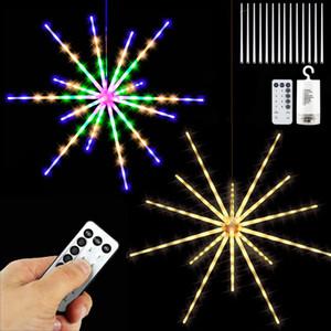 DIY LED Firework String Lights Hanging Starburst Lamp Remote 8 Modes Stream Lights Christmas Garland Festival Decor Remote Twinkle Lights