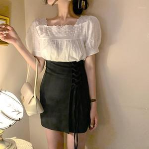 Two piece Suit oversize Blouse Summer Women Tops femme Casual Women short sleeve Girls Cotton Plus Size MINI skirts pants suit1
