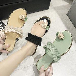 Летние новые ананасовые сандалии тапочки Корейский модный студент жемчужный женские туфли торговлю горячий стиль носить пляж вне классики1