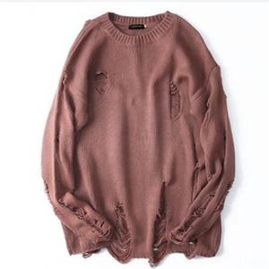Разорванные Разрушенные Дыры Проблемные Свитера мужские трикотажные пуловер свитер Мужской хип-хоп моды Свободный свитер Streetwear