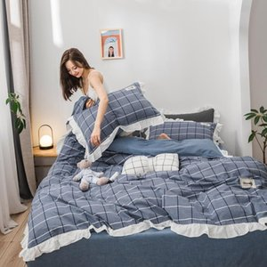 Princess Style Washed Cotton Duvet Cover Pillowcases Flat Fitted Bed Sheet 4 Pcs Bed Linen Ruffles Plaid Blue Brown Pink Ruby