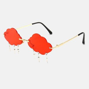 Fashion Rimless Sunglasses Women Vintage Clouds Tassel Steampunk Sunglasses Men Frameless Punk Glasses Shades UV400