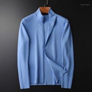 Stand Collar Mens Maglioni Luxury Solid Color Zipper Cardigan Maglione Maschile Primavera E Autunno Slim Fit Maglioni da uomo 4xL1