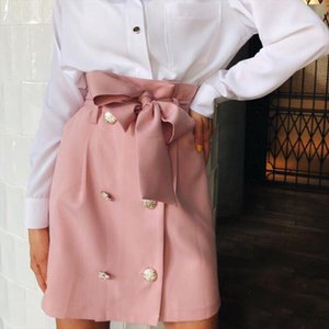 2020 High Waist Skirt Women Autumn Summer Elegant Pockets Solid Skirts Ladies Casual Button Belted Mini A line Skirt