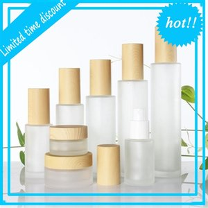 20ml 30ml 40ml 50ml 60ml 80ml 100ml Frosted Glass Cream with Imitated Wooden Lids Cap Lotion Spray Bottle Cosmetic Container Jar