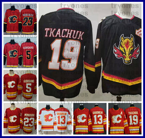 2021 Revers rétro Calgary Flames Hockey Jerseys Black 19 Matthew Tkachuk 13 Johnny Gaudreau 5 Mark Giordano 23 Sean Monahan Krostit Chemises