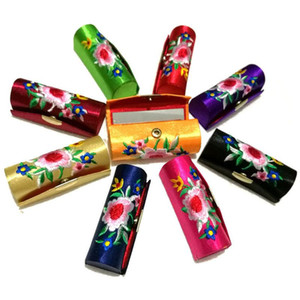 Retro Flower Embroidered Lipstick Case Lipstick Display Box Bag With Mirror Portable Jewelry Holder Chinese Styles Packing Box
