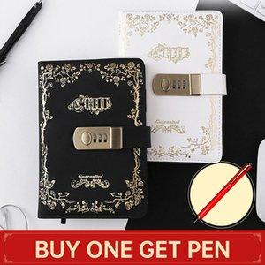 Affari Lock Password Uomo Notebook per la scuola viaggiatore donne Vintage Diario Blocco note A5 Note Book regalo cancelleria ufficiale