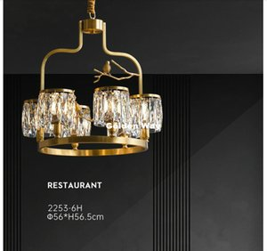 Modern Copper Crystal Pendant Lights D45cm H56cm Hanging Lamp Copper Ceiling Pendant lamp for Restaurant Bar Indoor Decorative Lighting