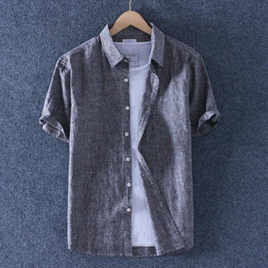 Summer Thin Fashion Men's Striped Linen Short Sleeve Shirt Outdoors Breathable Casual Small Collar Cotton Tops Clothing