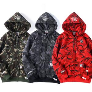 Avrupa ve Amerikan gelgit marka işlemeli fermuar ceket erkek kamuflaj kazak kadın çift ceketler hoodies hırka üstleri