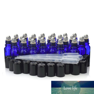 24pcs 10ml Blue Glass Roll On Bottle Stainless Steel Roller Ball Bottles for Essential Oils Perfume Aromatherapy
