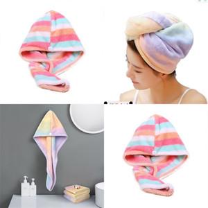 Women Towels Bathroom Microfiber Towel Colorful Stripe Hair Towels For Adults Drying Turban Wrap Hat Spa Bathing Caps 56 O2