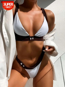 PlayShiny Push Up Bikinis Traje de baño de la mujer Thong Swimwear Trajes de baño de alto corte de cintura alta BIQUINI CUCHE V-COLCOR DE PLAYA 2021 NUEVO # GA8P