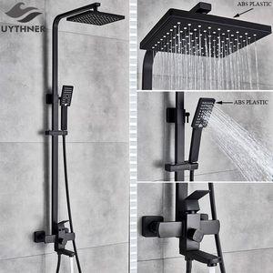 Uythner Baño mate Black Black Bath Bathtub Bathtub Bathtub Tap Faucet Ducha Ducha Mezclador T200710