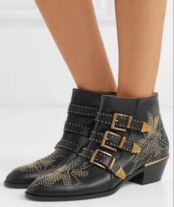 Fall Winter Luxury Susanna Studded Buckle Ankle Boots women Martin Boot Genuine Leather Suede Designer Booties Chunky Heel Combat Boots