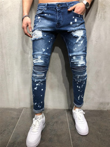Mens Brand New Jeans Mens Hip Hop Design Pants Fashion Ginocchio Pieghette Patchwork Splash Inchiostro Pantaloni strappati per uomo Dimensione 28-38