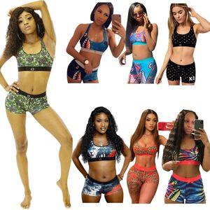 Donne Girls Costume da bagno Bikini Bikini Set Set di maglia senza maniche Tank Bra e pantaloncini Costumi da bagno Squalo Squalo Stampa floreale Tankinis Stile estate Suit S-3XL