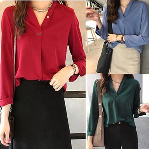 New Fashion Autumn Blouses Women Casual V Neck Shirts Long Sleeves Chiffon Tops Ladies Work Office Shirt Tops 2020