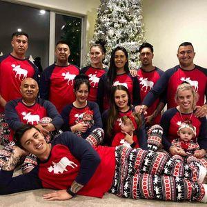 Popular europeu e américa Natal pai-criança roupas domésticas pijamas conjunto vermelho elk crianças roupas de natal