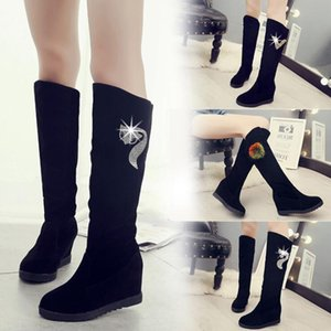 Women Shoes Woman Knee high Winter New Rhinestone Decoration Wild Plus Velvet Thick Snow Boots X85 201021