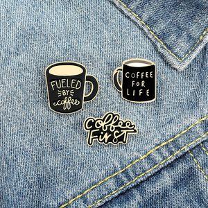 Kaffee für Life Cup Vintage Emaille Broschen Pin Für Frauen Mode Kleid Mantel Hemd Demin Metall Brosche Pins Abzeichen Förderung Schwarze Farbe