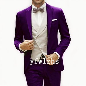 Custom-made One Button Groomsmen Peak Lapel Groom Tuxedos Men Suits Wedding Prom Dinner Best Man Blazer(Jacket+Pants+Tie+Vest) W537