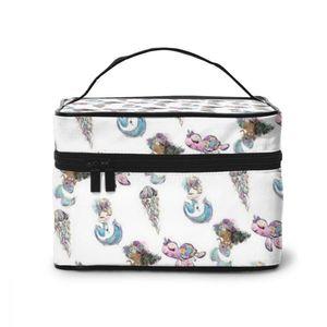 NOISYDESIGNS Woman Extra Large Capacity Cosmetic Bags Big Travel Toiletry Bag Mermaid Pattern Necessary Organ Makeup Bag Storage
