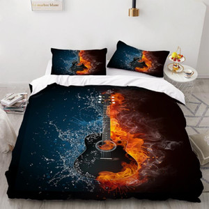 Blue And Red Compatible 3 Piece Bedding Set Guitar Music Bed Quilt Pillowcase Colorful Duvet Cover 3D Print Cover Set Kids Beds