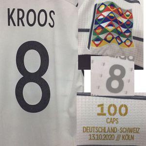 2020 Partido Worn Player Problema Kroos 100 Caps con 100 juegos de fútbol Patch Badge Home Textile