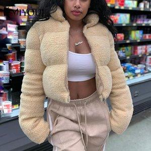 Miyouj осень зима ягненка шерстяные куртки женщин уличная одежда обрезанная твердая молния пальто женское мода