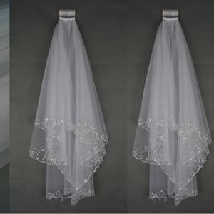 2021 New Bling luxury Wedding Veils Short Wedding Bridal Veil 2 Layer Handmade Crystal Beading Bridal Accessories Veil White Ivory in stock