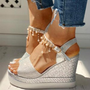 2020 New Women Wedge Sandals Summer Bead Studded Detail Platform Sandals Buckle Strap Peep Toe Thick Bottom Casual Shoes Ladies