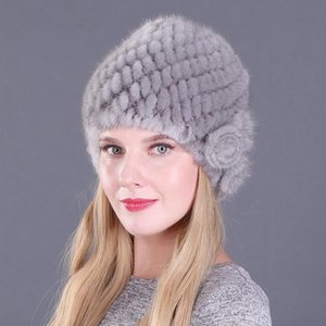 New Style for Autumn and Winter Women's Mink-Tail Woven Woolen Cap Dome Fur Hat